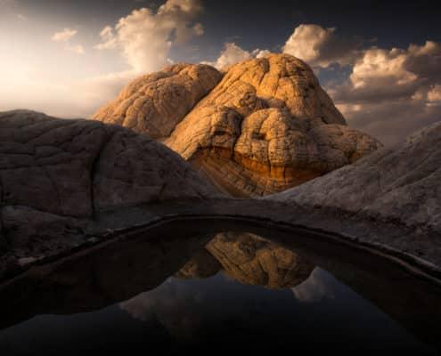 (JoSn001)Brain Rock Peak Puddle Sunset